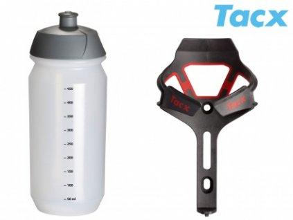 Košík TACX Ciro + Láhev Shiva 0,5l (červená-matná/karbon)