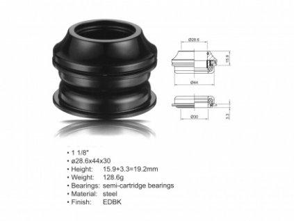 """Hlavové složení ACO-HS20 Internal (1 1/8""""; d:28.6/ 44/ 30mm) (černá)"""