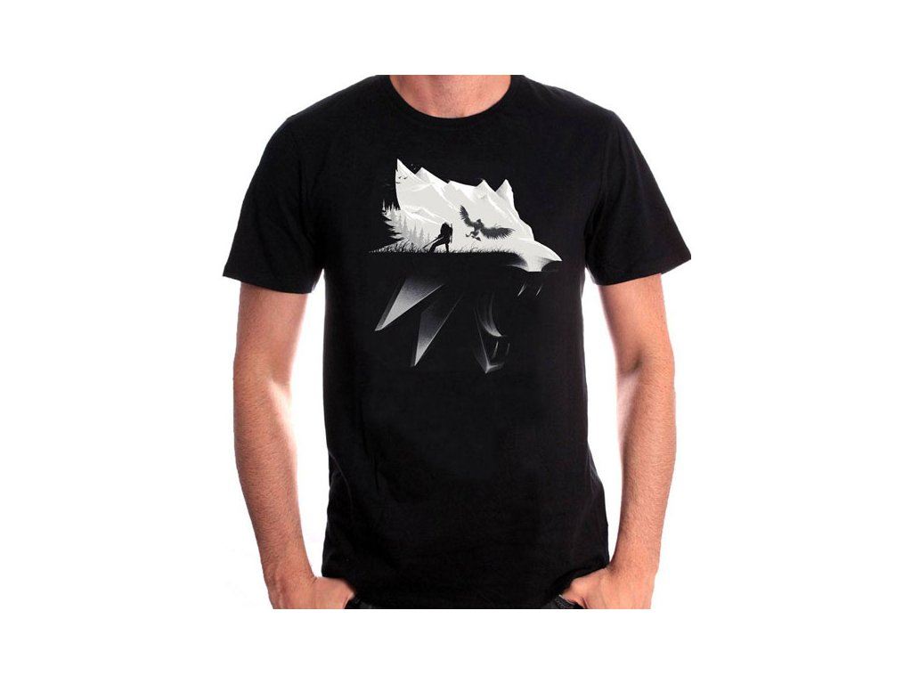 witcher wolf silhouette tricko xl 3700334747790