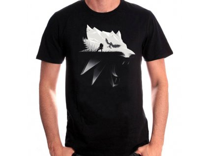 witcher wolf silhouette tricko l 3700334747790