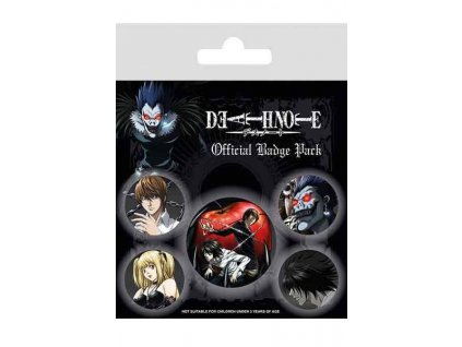 Death NoteOdznaky Characters (5-Pack)