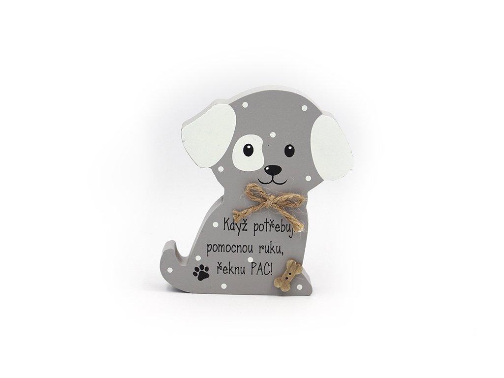 Dřevěná dekorace se psem Řeknu pac