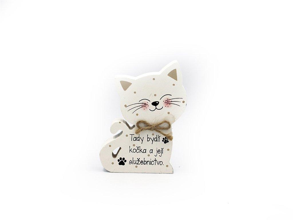 Dřevěná dekorace s kočkou Tady bydlí kočka