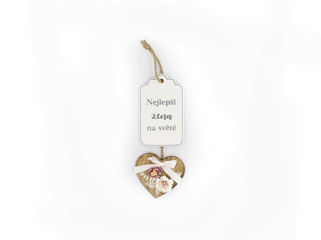 Dřevěná cedulka srdce s květinou Nejlepší žena