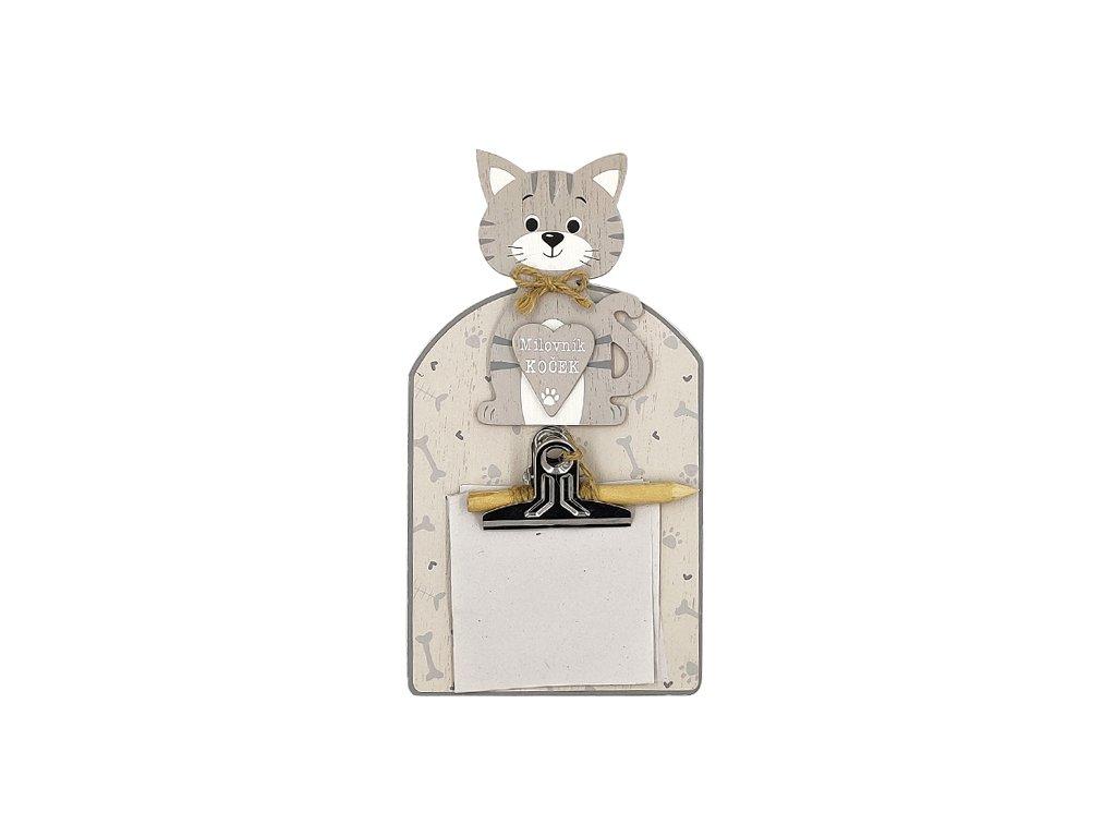 Dřevěná cedulka sklipem Milovník koček