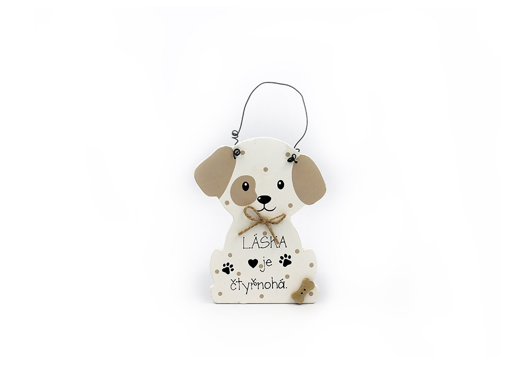 Dřevěná cedule se psem Láska je čtyřnohá