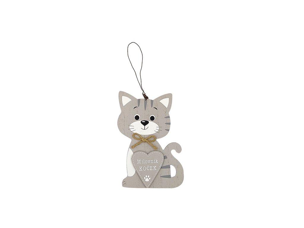 Dřevěná cedule s kočkou Milovník koček