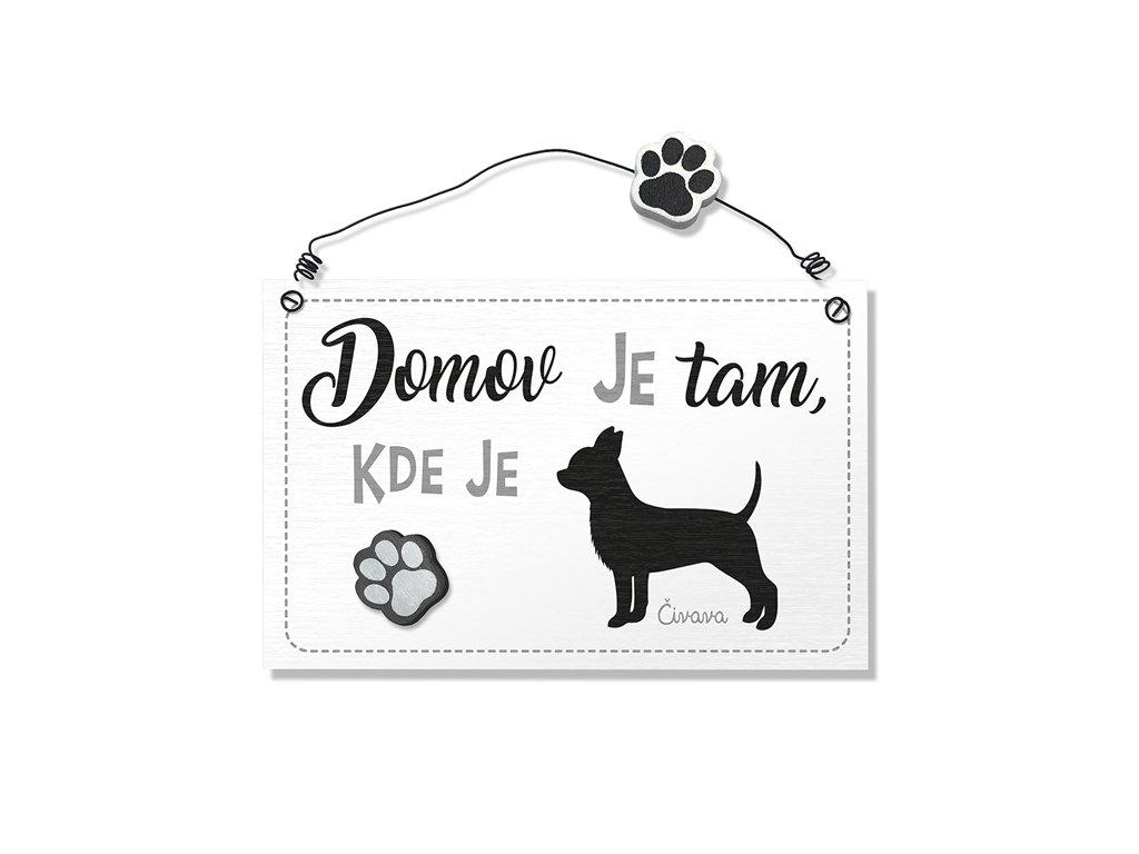 Dekorace cedule se psem Čivava