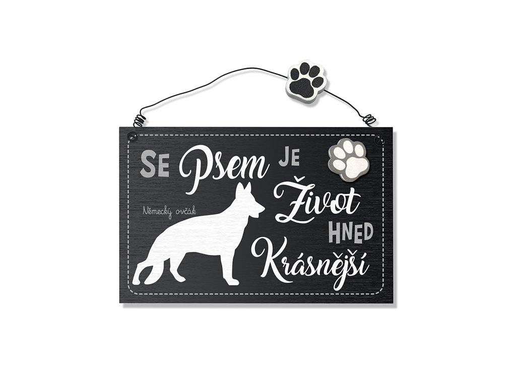 Dekorace cedule se psem Německý ovčák