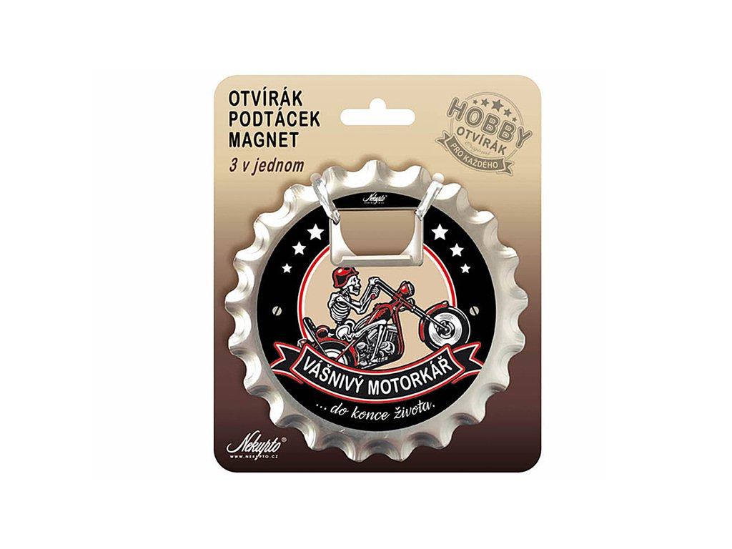 Otvírák na pivo, podtácek Vášnivý motorkář Hobby