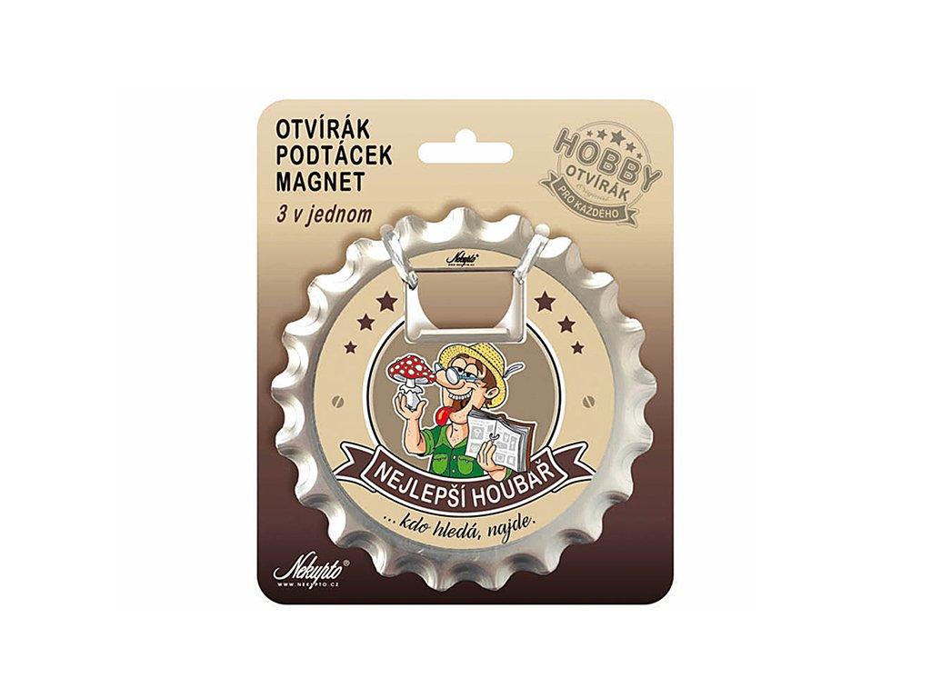 Otvírák na pivo, podtácek Nejlepší houbař Hobby