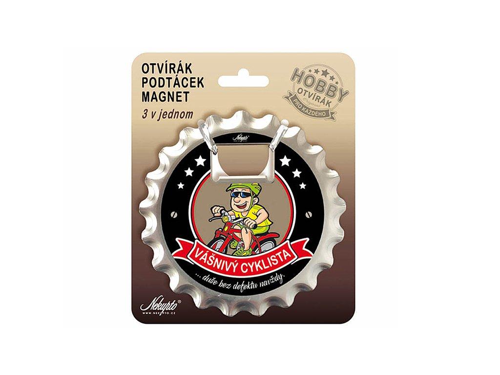 Otvírák na pivo, podtácek Vášnivý cyklista Hobby