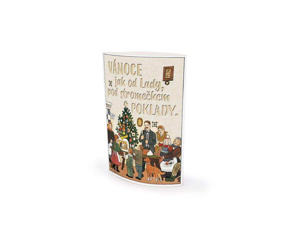 Svítící dekorace lucerna Vánoční stromeček Josef Lada