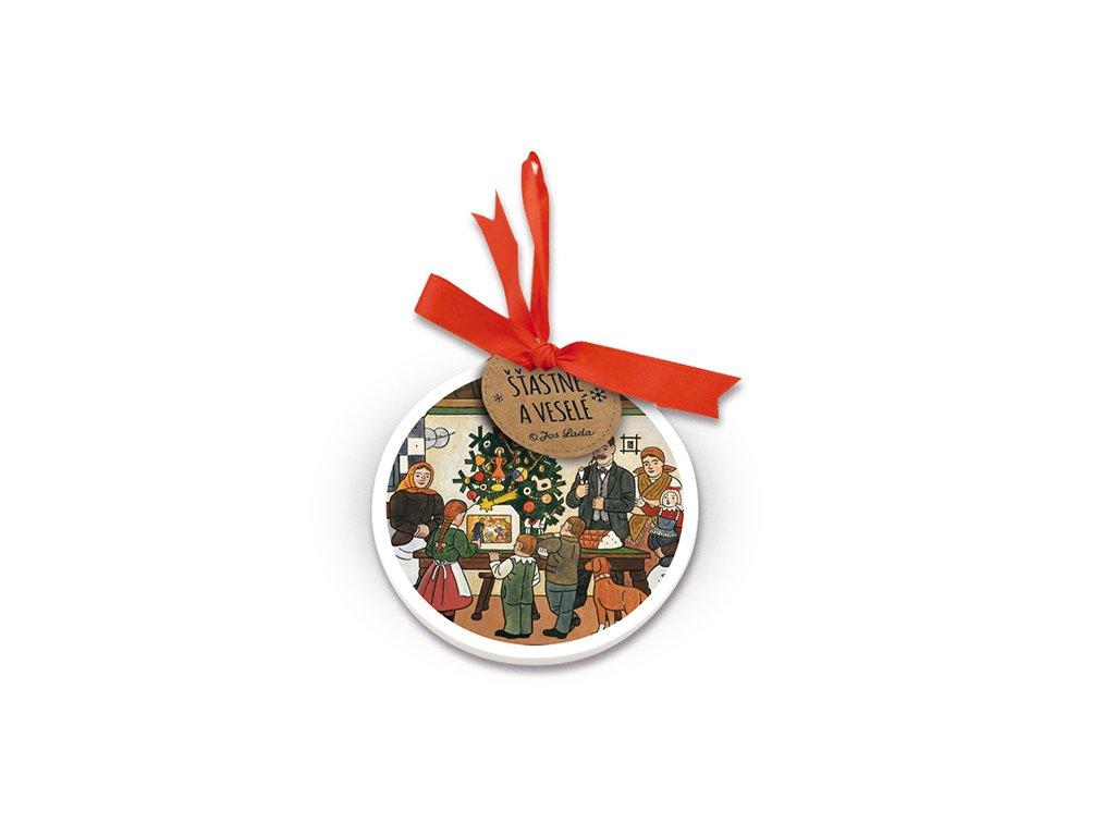 Kulatá keramická ozdoba Vánoční stromeček Josef Lada