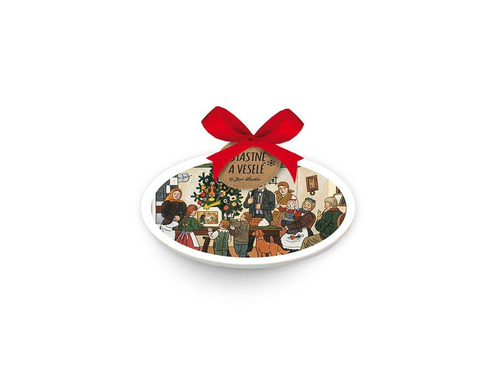 Oválná keramická ozdoba Vánoční stromeček Josef Lada