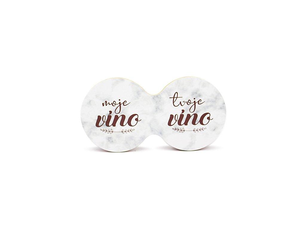 Originální dvojitý podtácek s potiskem Moje víno, tvoje víno