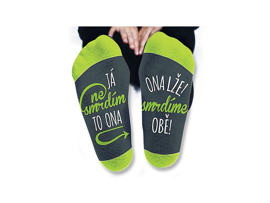 Vtipné ponožky pánské Já nesmrdím, to ona