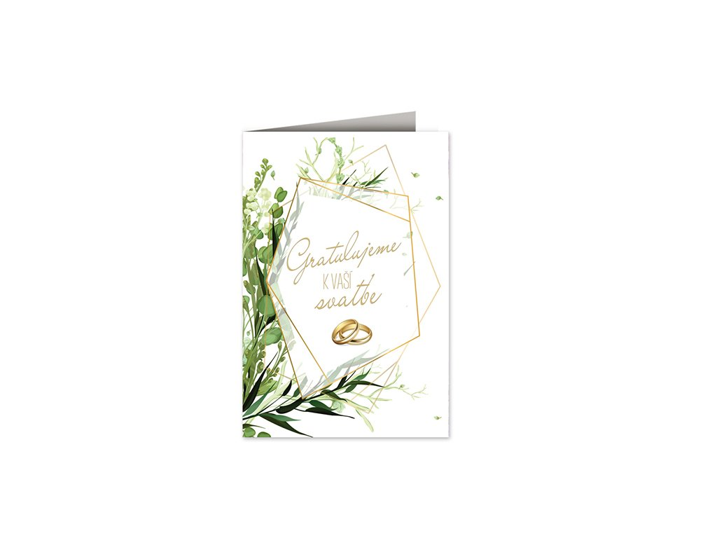 Svatební přání Prstýnky v rámečku