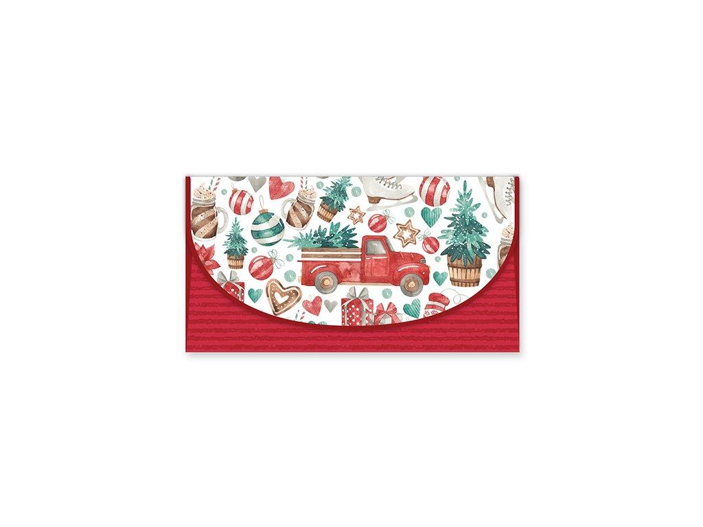 Vánoční obálka na peníze Červená koláž