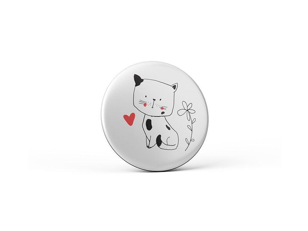 Vtipný magnet s potiskem Kočka se srdíčkem