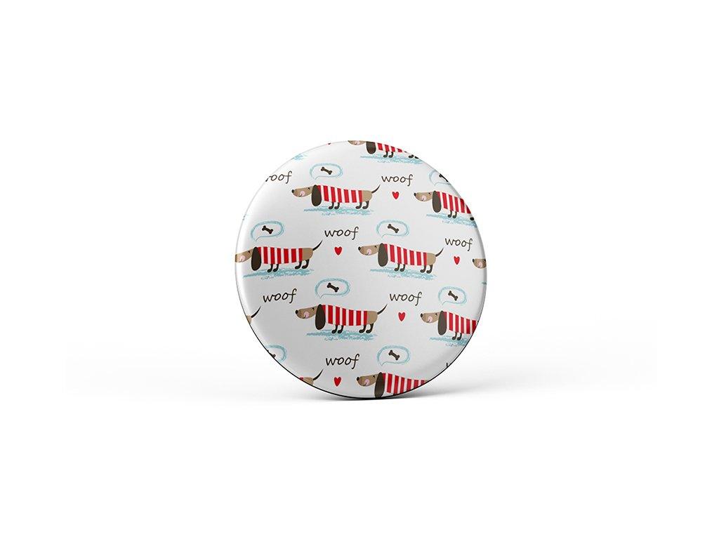 Vtipný magnet s potiskem Psi se srdíčky