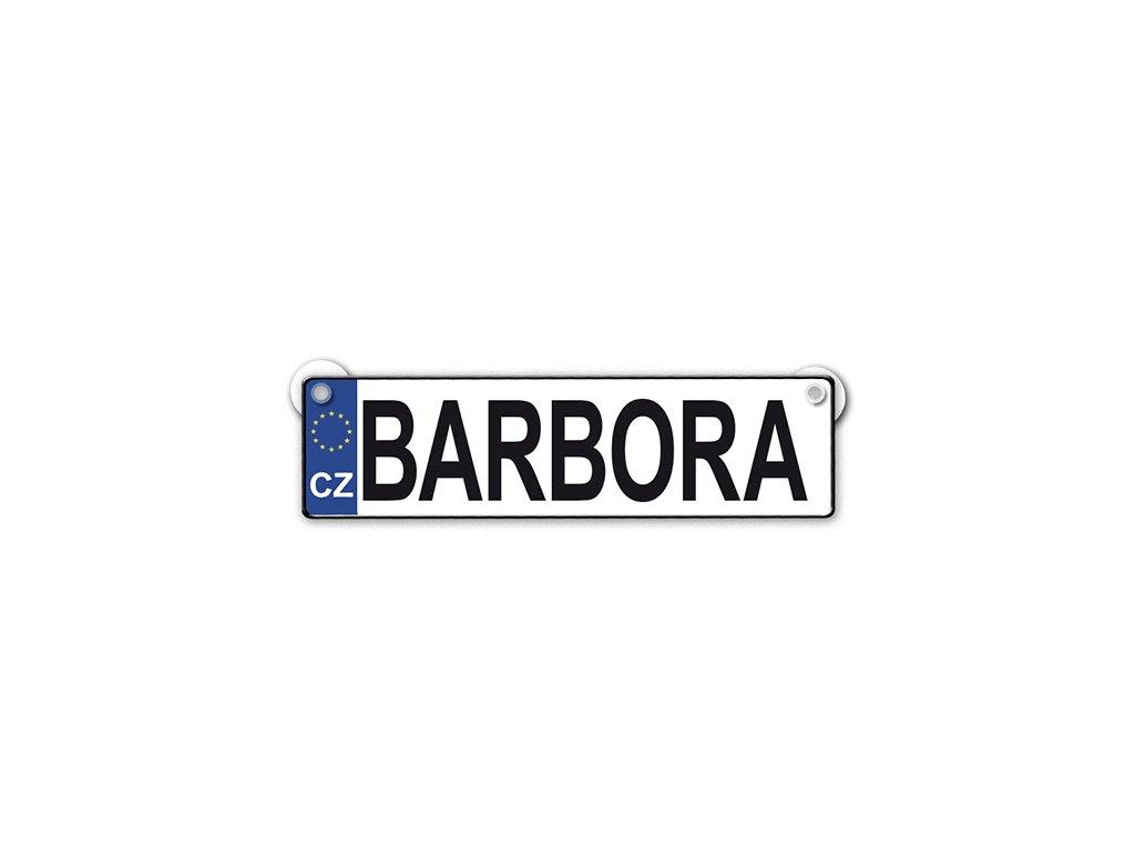 Originální SPZ cedulka se jménem BARBORA