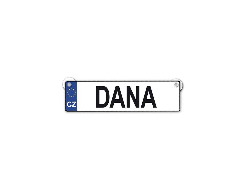 Originální SPZ cedulka se jménem DANA