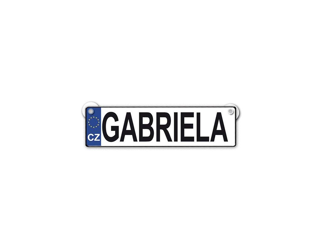 Originální SPZ cedulka se jménem GABRIELA