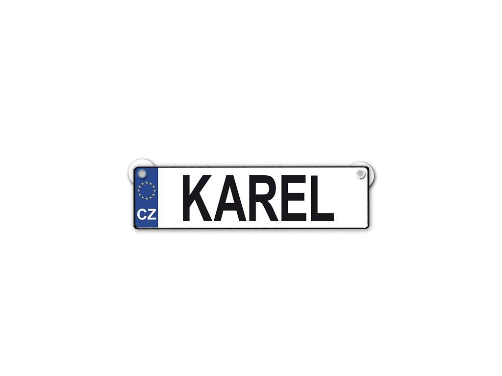 Originální SPZ cedulka se jménem KAREL