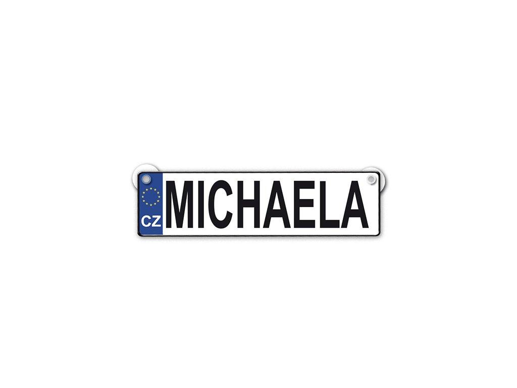 Originální SPZ cedulka se jménem MICHAELA
