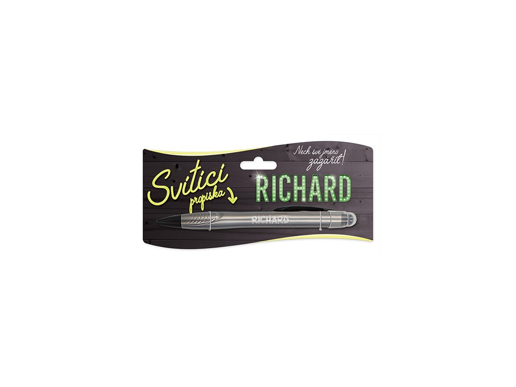 Svítící propiska se jménem RICHARD