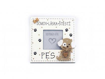 Dřevěný fotorámeček se psem Domov, láska, štěstí, pes