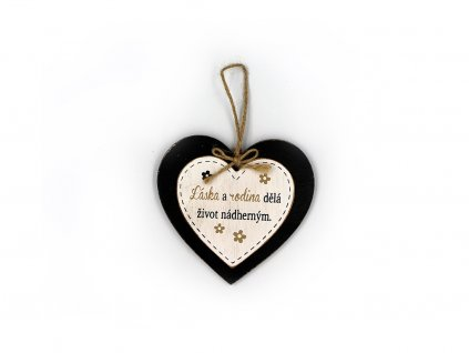 Dřevěná cedule srdíčko Láska a rodina