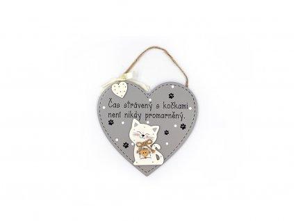 Dřevěná cedule srdce Čas strávený s kočkami