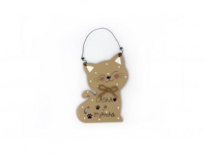 Dřevěná cedule s kočkou Láska je čtyřnohá