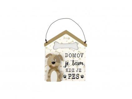 Dřevěná cedule domeček se psem