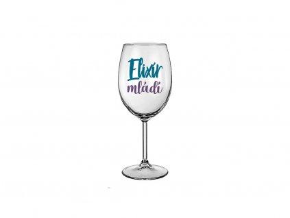 Vtipná sklenice na víno s potiskem Elixír mládí