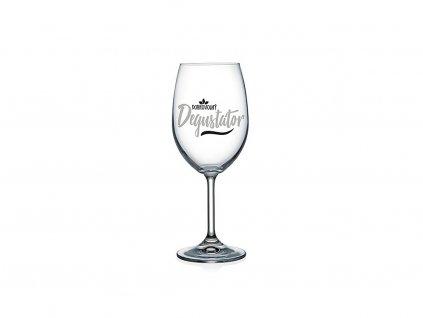 Vtipná sklenice na víno s potiskem Dobrovolný degustátor