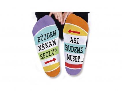 Vtipné ponožky dámské Půjdeme někam spolu?