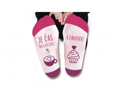 Vtipné ponožky dámské Je čas na kávičku