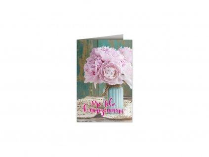Přání k narozeninám Váza pivoněk