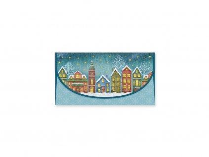 Vánoční obálka na peníze Zasněžené město