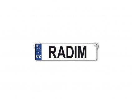 Originální SPZ cedulka se jménem RADIM