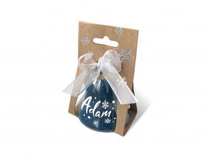 Vánoční zvonek perleťový se jménem ADAM