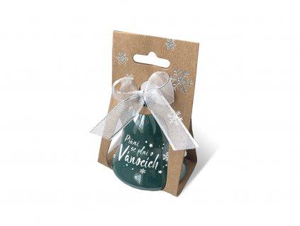 Vánoční zvonek perleťový s potiskem Přání se plní o Vánocích
