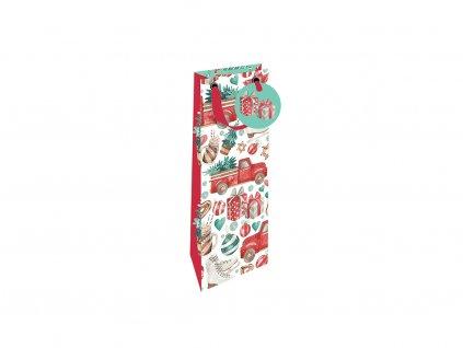 Vánoční dárková taška na víno Auto se stromečkem