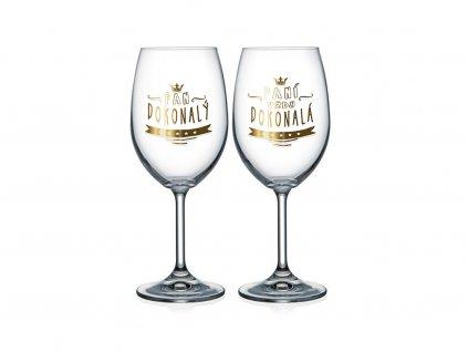 Sklenice na víno pro pár Paní dokonalá a Pan dokonalý