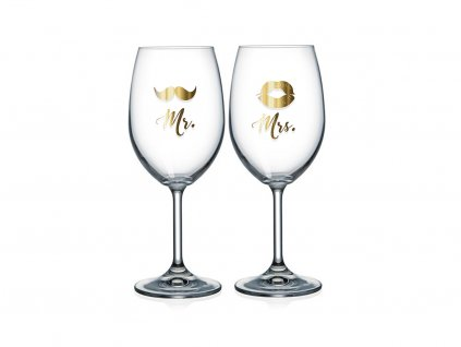 Sklenice na víno pro pár Mr. & Mrs.