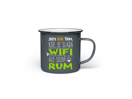 Vtipný plecháček s potiskem Jsem rád tam, kde je slabá wifi, ale silný rum
