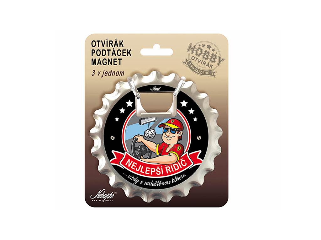 Otvírák na pivo, podtácek Nejlepší řidič Hobby